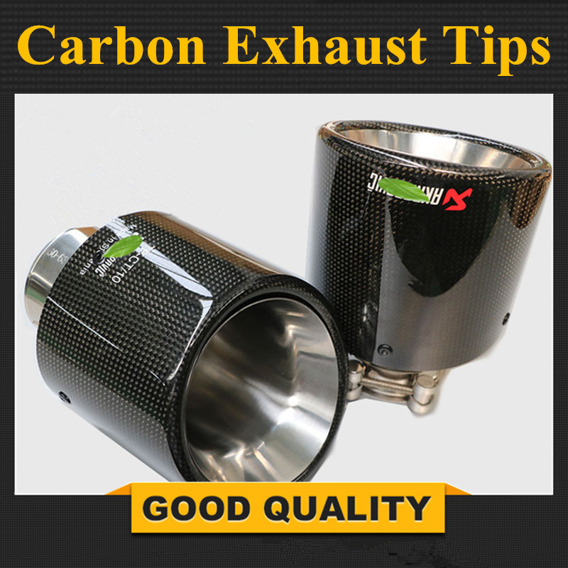 Free Shipping 114MM Outlet Glossy Carbon Fiber exhaust tip 304 Stainless Steel Universal Muffler tips Akrapovic