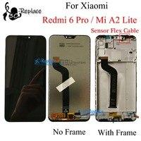 블랙/화이트 신제품 Xiaomi redmi 6pro redmi 6 pro LCD 스크린 디스플레이 + 터치 패널 디지타이저 프레임 블랙 Xiaomi Mi A2 lite