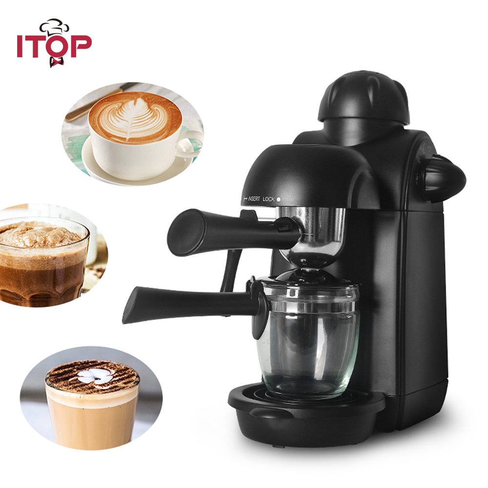 ITOP Italian Semi-automatic Coffee Maker Machine,Household 5 Bar Espresso Electric Milk Foam 220V