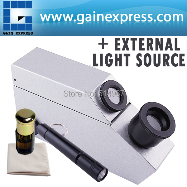 Gem Gemstone Gemology Refractometer w/ built-in LED & external Light Source Index Oil Polarizing Filter 1.30~1.81 RI range wholesales buil in led light refractometer zgra 100atc