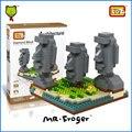 Mr. froger loz bloques diamond arquitectura mundialmente famosa isla de pascua diy ladrillos de construcción de plástico juguetes educativos para niños