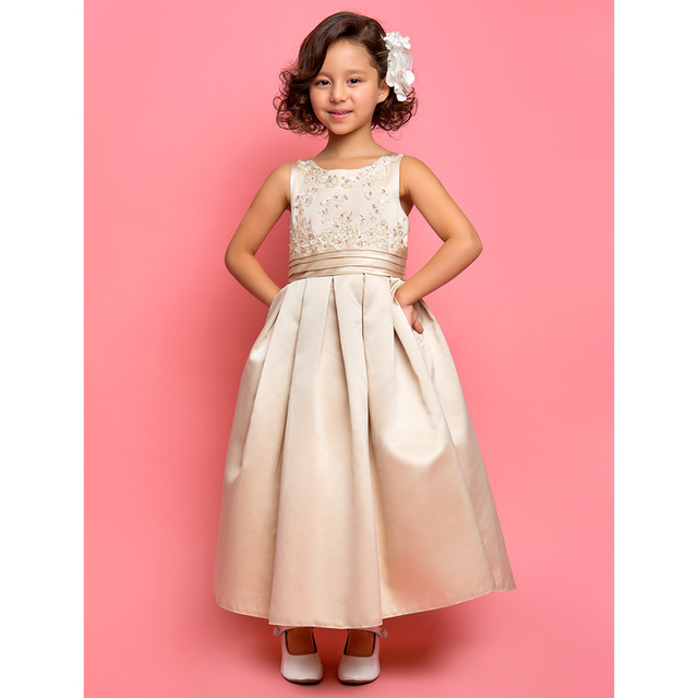 9cfdd0a0473 LAN TING BRIDE A-Line Princess Ankle Length Flower Girl Dress - Satin Sleeveless  Jewel Neck with Appliques