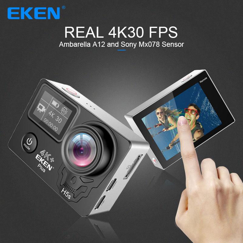 Eken h5s além de câmera ação hd 4 k 30fps com ambarella a12 chip dentro 30m à prova dwaterproof água 2.0 touch tela de toque eis go esporte câmera pro