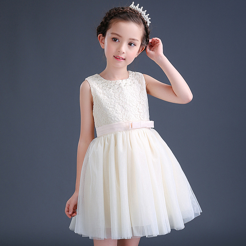 Summer Teenage Girls Dresses For Party and Wedding Lace tulle Baby Birthday Costume Cotton Lining Pink White Size 5 7 9 11 13 15