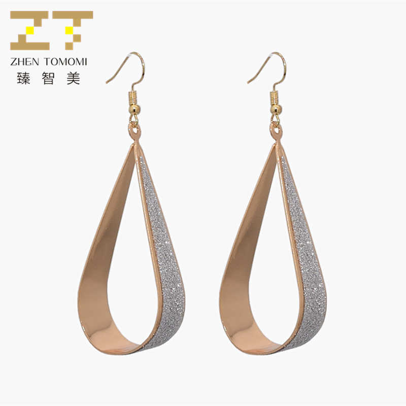 2019 New Hot Women's Fashion Water Drop Shape Earrings Bijoux Frosted Sticker Long Statement Drop Earrings For Women Jewelry