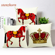Nordic Royal Red Horse Crown Trim Cushions Cover Square Knitted Printing Linen Cotton Cushions Sets Pillow Sofa Chair Car Pillow(China)