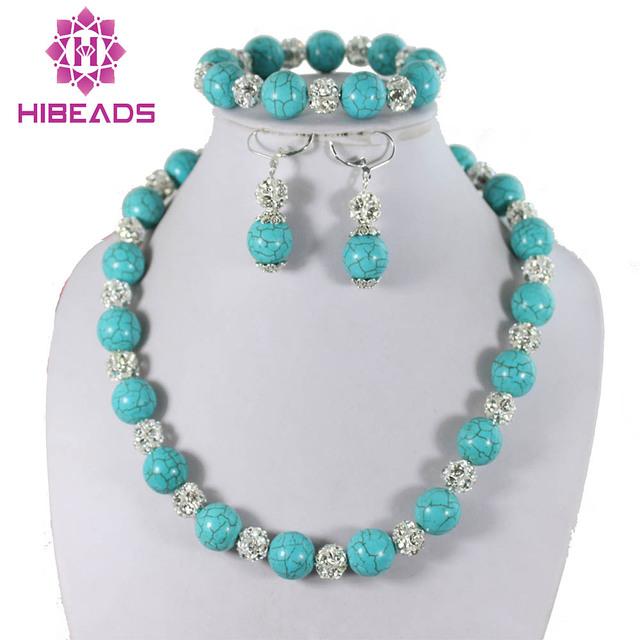 Hermoso Azul Turquesa Perlas de La Joyería Con Cuentas Jewlry Set Nueva Moda Joyería de la Boda y Aniversario Envío Gratuito AJS117
