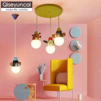 Qiseyuncai Moderne kinderzimmer led dimmen cartoon tier auge schutz kronleuchter kreative jungen mädchen schlafzimmer beleuchtung