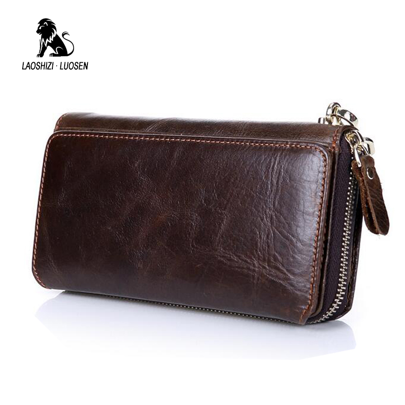 LAOSHIZI LUOSEN Wallet Men Luxury Brand Clutch Wallets Genuine Cowhide Leather Zipper Purse Handy Bag Long Big Wrist Wallet скобы fubag 12 9x14mm 5000шт 140118