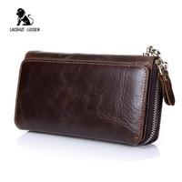 LAOSHIZI LUOSEN Wallet Men Luxury Brand Clutch Wallets Genuine Cowhide Leather Zipper Purse Handy Bag Long Big Wrist Wallet