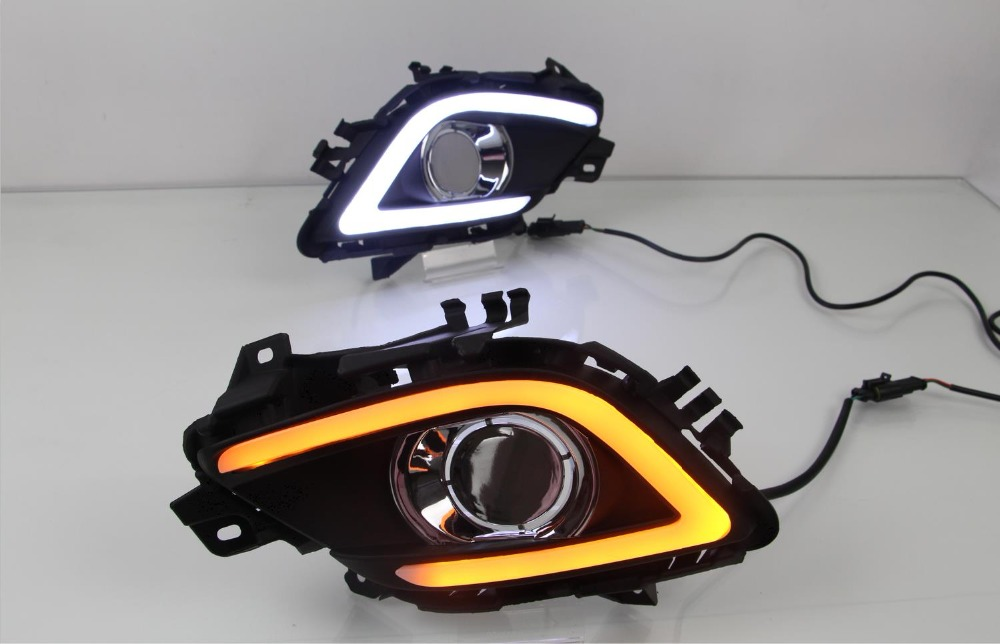 Fog lamp cover drl with yellow turning signal lights LED Daytime Runnning Lights for Mazda 6 ATENZA 2013 2014 2015 2016 2 pcs drl for mazda 6 mazda6 atenza 2013 2014 2015 led drl daytime running lights daylight fog light cover car styling