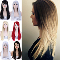100% Premium Long Stragiht Full Hair Wig Blonde Brown Ombre Synthetic Full Head Wigs Cosplay Party Daily Fancy Dress