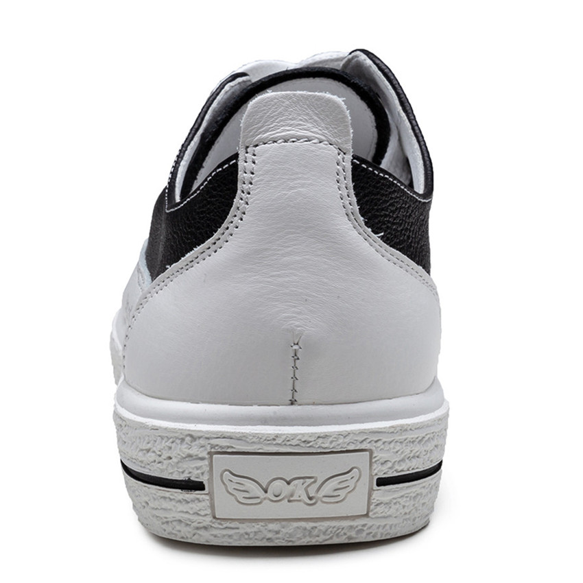 Mujer Transpirables Plataforma blanco Skate Caminando Casuales Las Genuino Cuero Zapatos De Pisos Mujeres Zapatillas Negro Plana Z78fYx