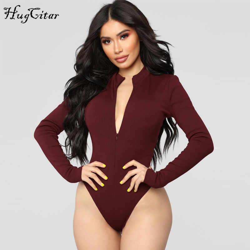 Hugcitar с длинными рукавами, на молнии, с высоким горлом, облегающее, сексуальное, однотонное тело, 2018, Осень-зима, женское, модное, Клубное боди