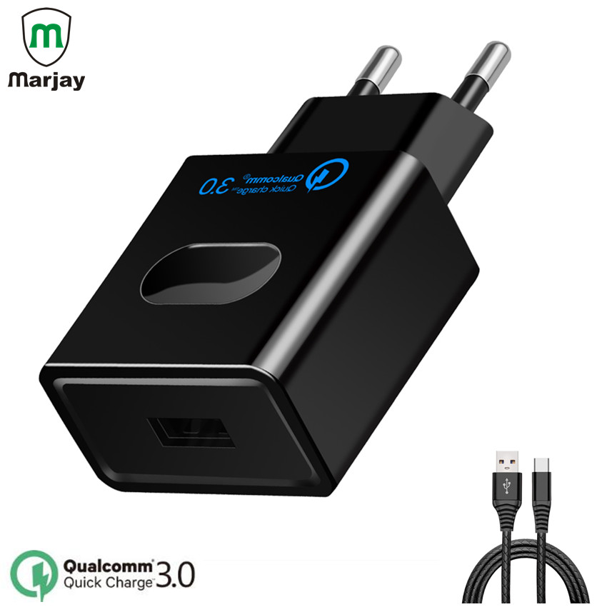 Marjay Quick Charge 3.0 USB Charger 5V 3A Fast Charger USB Adapter for Samsung Galaxy S8/S7/S6/Edge Tablets Mobile Phone Charger