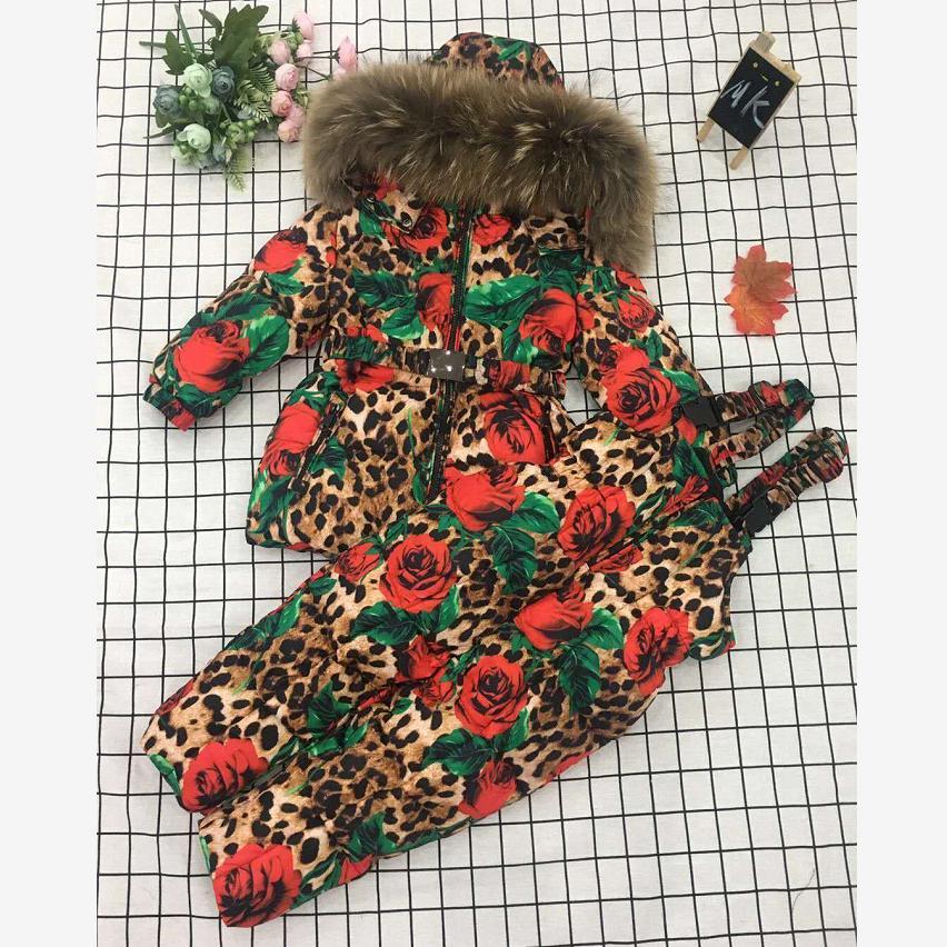 Winter Children Hooded Warm Down Jacket Coat Kids Snow Wear Print Outerwear Real Raccoon Dog Fur