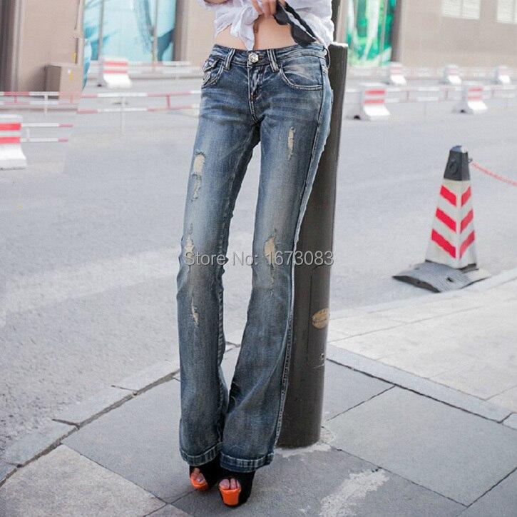 ФОТО Super ! Fashion Slim vintage ripped Flare Jeans womens stretch low waist distressed jeans femme pantalon jean