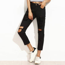 Denim frayed boyfriend Jeans for women Denim Women Jeans bsk vaqueros mujer pantalon femme ukraine brazilian virgin hair black