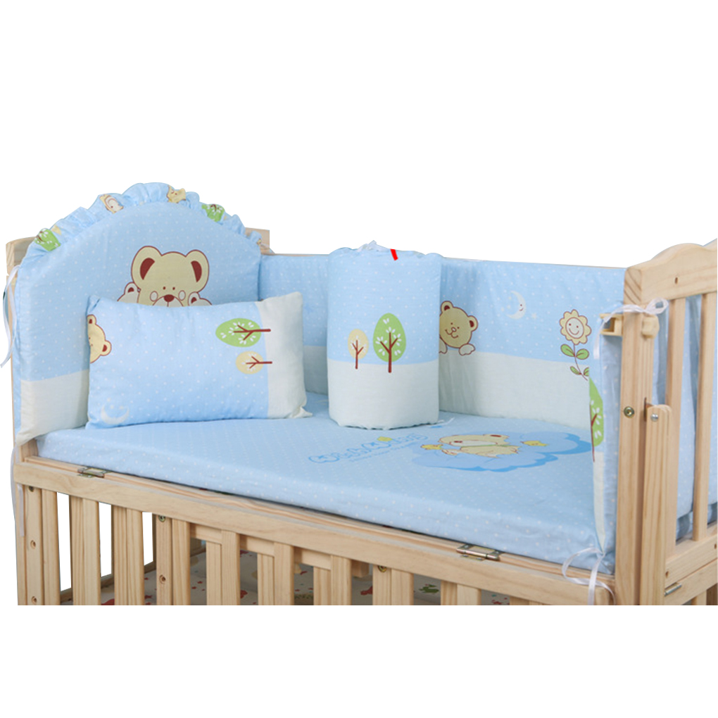 5PCS/Set Baby Bed Bumpers Pure Cotton Infant Bedding Set Newborn Cartoon Printed Crib Protector For Toddler 90*50cm
