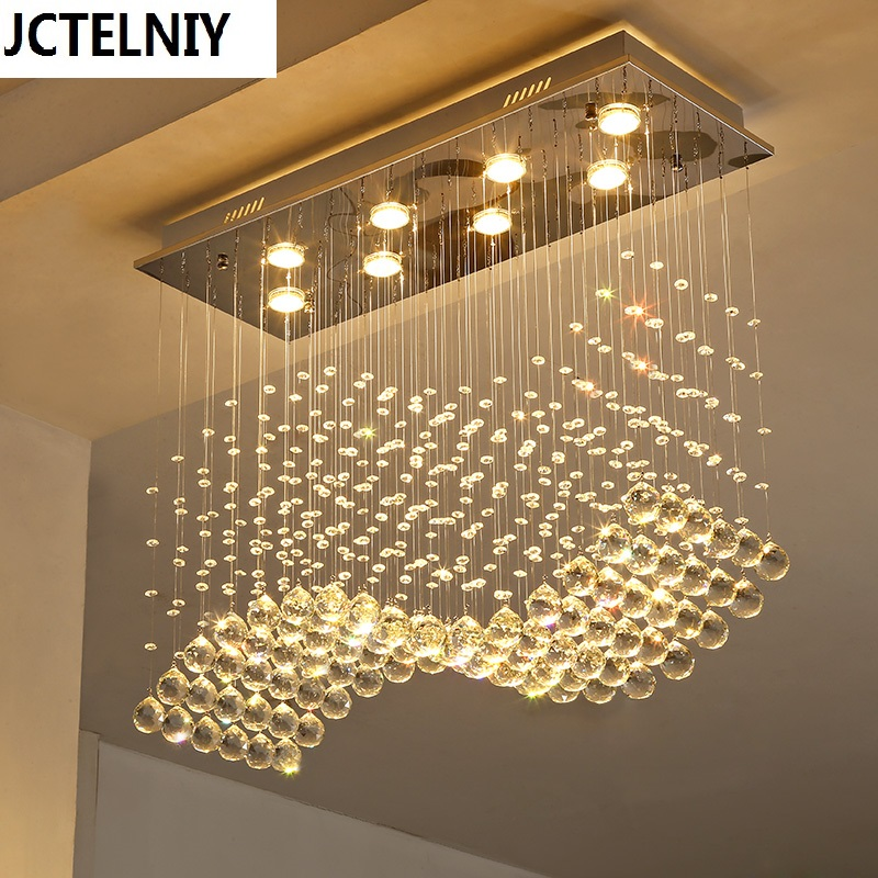 Rectangle crystal lamp dining room pendant light individuality brief lamp modern bar counter rectangle crystal restaurant modern led crystal brief dining room pendant light rectangle pendant light bar
