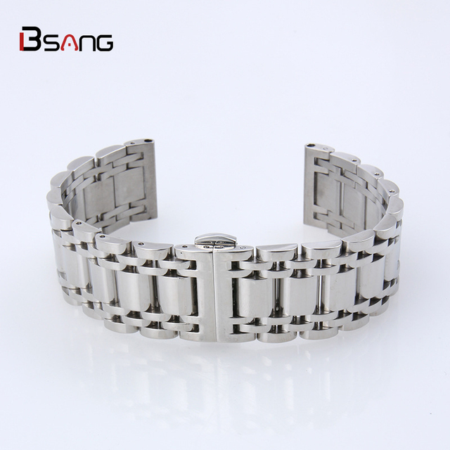 Universal Steel 18mm Watch Strap Accessories Metal Bracelet Men 304 Stainless Solid Flat Head