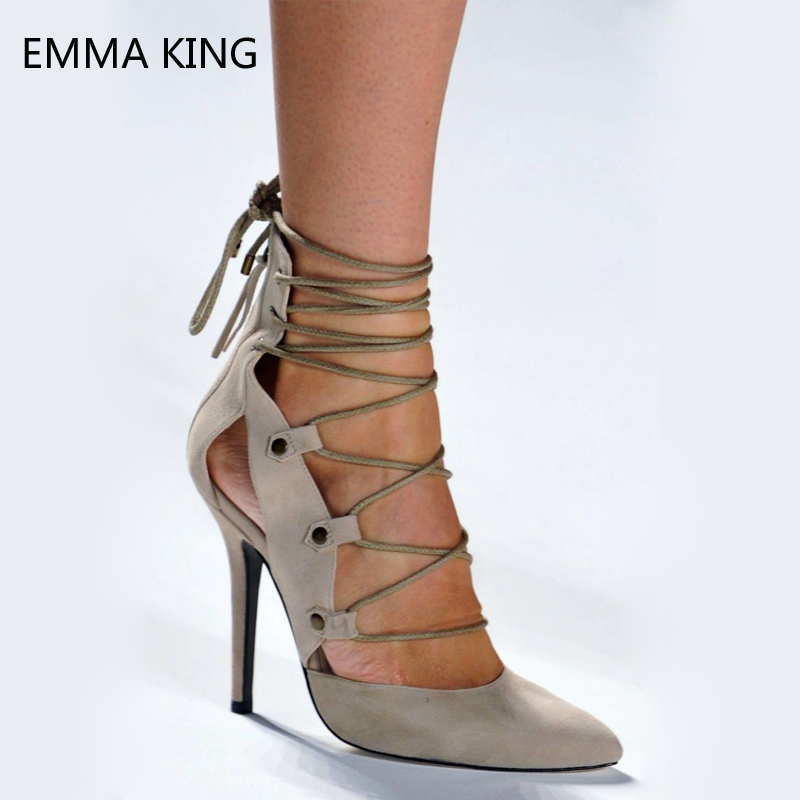Apricot Strappy Pumps Women Sexy Pointed Toe Zip Leather Shoes For Ladies Stiletto High Heels Cross tied Shallow Party Shoes