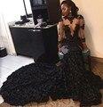 Manga longa preta pura da menina vestidos de baile 2017 sereia o pescoço tule renda apliques flor zipper-up tribunal trem party dress