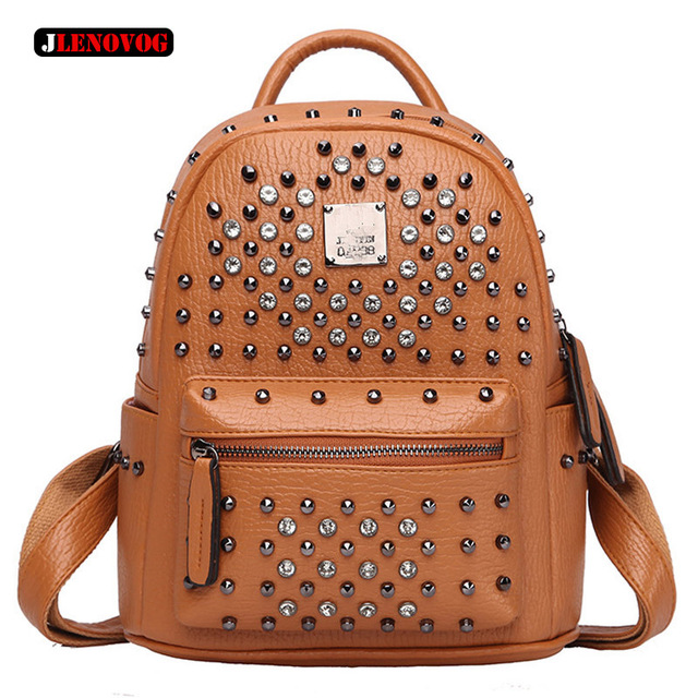 9fead7e668d7ef Luxury Famous Brand Genuine Leather Rivet Studded Backpack Vintage Brown Women  Bags Designer Silver Black Purse with Rhinestone