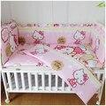 Promoção! 6 PCS olá Kitty bebê berço cama definir 100% lençóis de algodão cama decoração ( bumper + ficha + fronha )