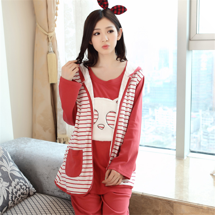 Breastfeeding Maternity Pajamas Nursing Winter Clothes For Pregnant Quality 3 Pcs Warm Cotton Nightwear 50M0003 цена