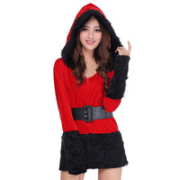 Ladies Santa Costume Women Christmas Party Fancy Two Parts Dress Cosplay Suit Female Xmas Vestidos Femininos