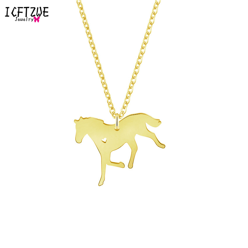 Gold Chains Stallion Running Horse Riding Stainless Steel Colar Maxi Pendant Necklace Women Men Wedding Jewelry Accessories BFF