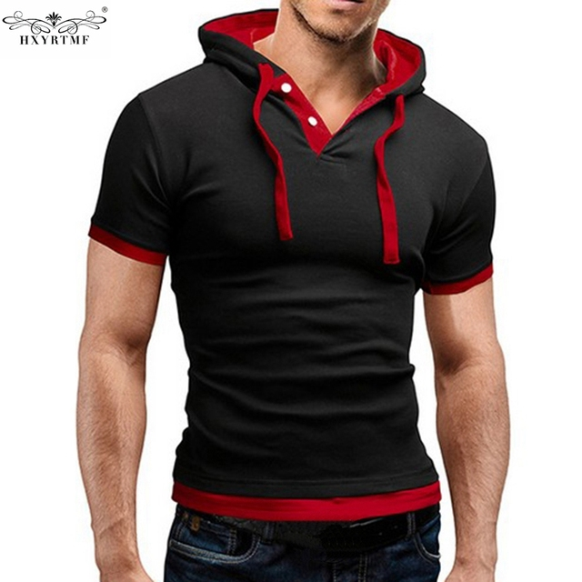 c2506190f Sling Cap Patchwork Regular Short Sleeve Fashion Summer Slim Compression T  Shirt Men Top V Neck Tee Shirts Male Plus Size M-5XL