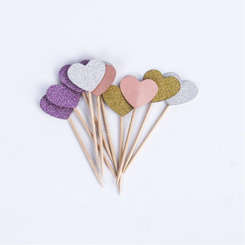 Brilho cor misturada cupcake topper doce coração aniversário do cupcake  topper e3d6e6486d550