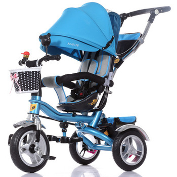 Children's handcart tricycle with canopy foam wheel tricycle with shock absorption two-way seat