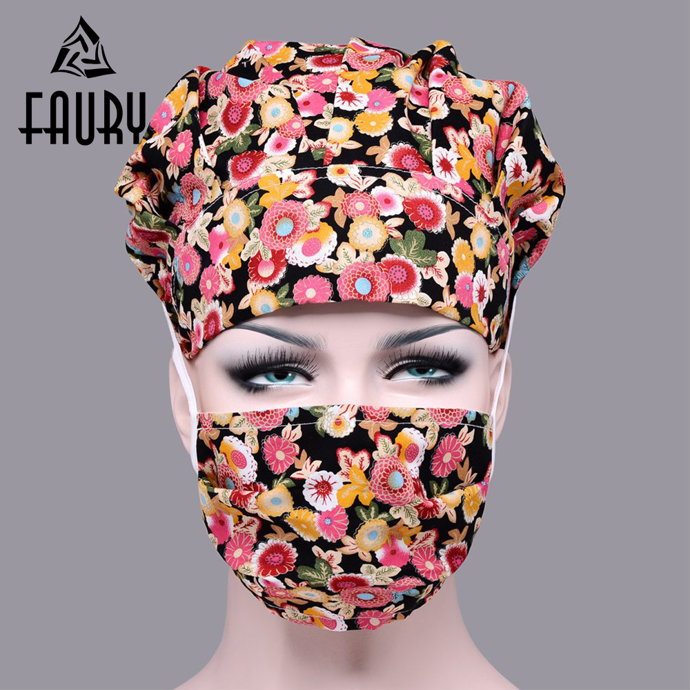 2018 New Lab Hospital Manicure Unisex Medical Surgical Cap 100% Cotton Printed Medical Scrub Operation Gourd Caps Adjustable