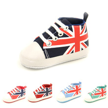 Spring, Summer and Autumn Boys and Girls soft Bottom Non-slip Baby Shoes classic rice flag  0-1 Years old Canvas Toddler Shoes