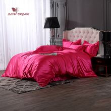 SlowDream Rose Red Bedding Set Luxury Euro Bedspread Bed Flat Sheet Pillowcase Duvet Cover Adult Bedclothes Double Linens