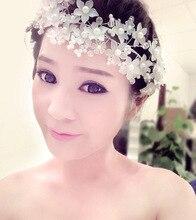 Nupcial simulada-perla vendas de la flor de la boda accesorios para el cabello joyería Tiara y corona Coroa de noiva acessório para cabelo