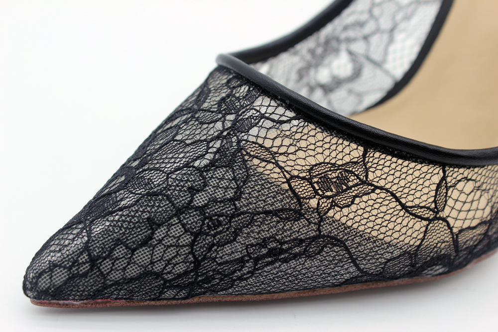 2019 New Genuine Leather Shoes Woman Mesh lace High Heels Women Pumps Pointed Toe Wedding Party Stilettos Shoes Big Size 34 46 in Women 39 s Pumps from Shoes