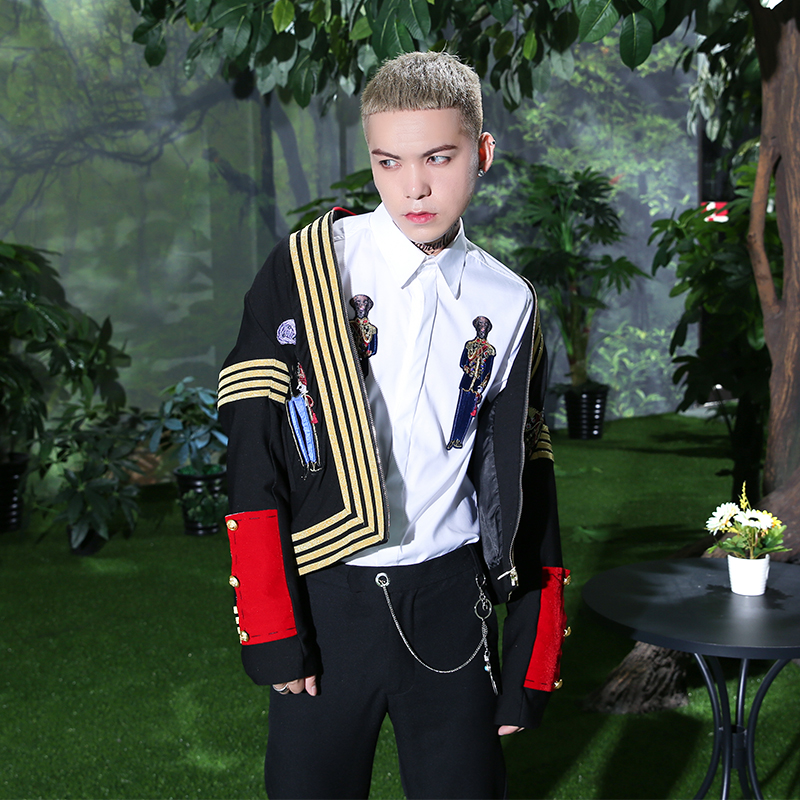 2018 New Long-sleeved Suit For Men's Embroidery Fashion Casual Top Fashion Singer's Clothing.   S-2XL!!!