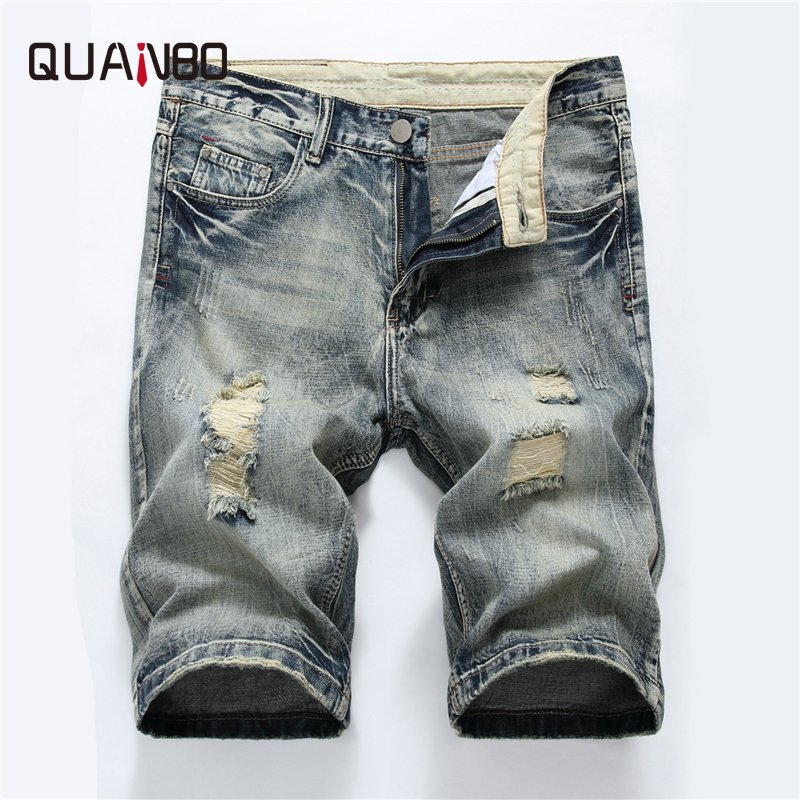QAUNBO New 2019 Summer Denim Short Men Fashion Hole Ripped   Jeans   High Quality Cotton Slim Fit   Jeans   Shorts Brand Clothing
