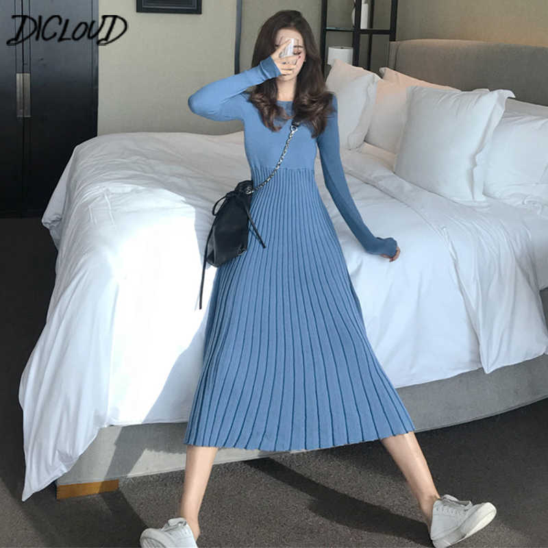 9d94e258764 DICLOUD Korean Long Knitted Dresses Women Vintage Long Sleeve Pleated Dress  Ladies Elegant Winter Dress Black