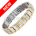 Channah 2017 Men 2-Tone Silver Gold 4in1 Magnets -ve Ions Germanium Far Infra Red Titanium Bracelet Bangle Free Shipping Charm