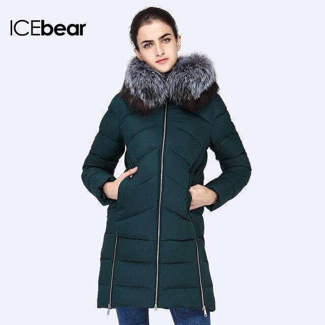 ICEbear 2016 Новый Зимы Женщин Большой Меховой Воротник С Капюшоном Женщина Тонкий Куртка Женская Куртка Пальто Толстые Парки 16G6105D