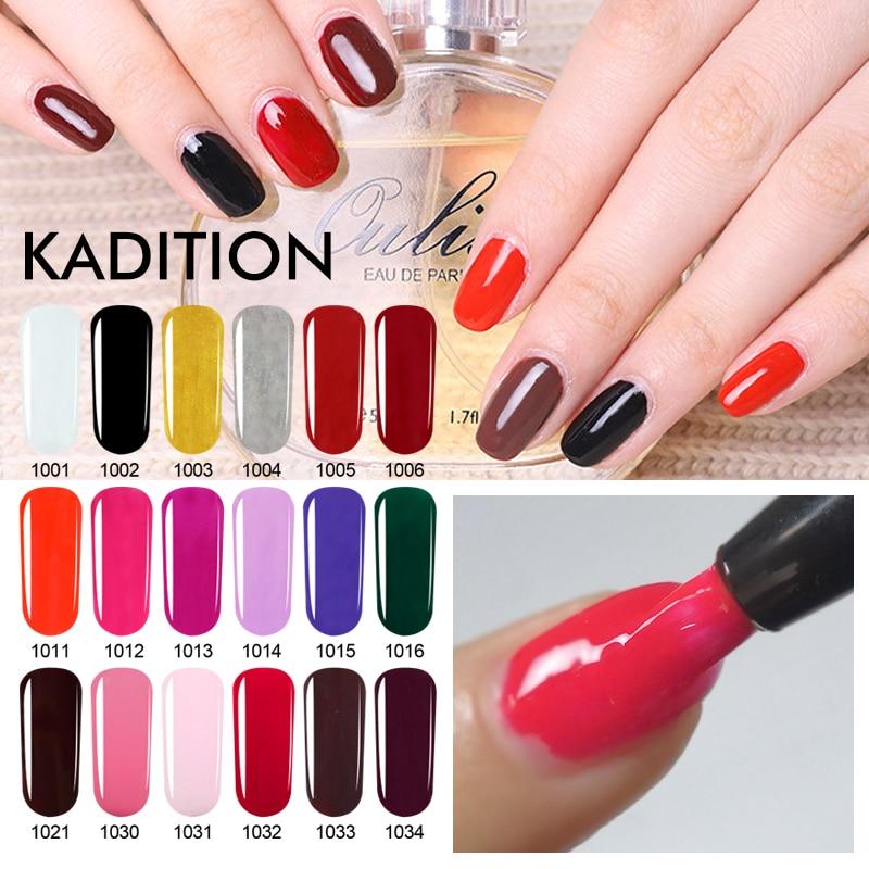 KADITION Hot Sale Pure 35 Colors Pen Nail Gel Paint Brushing Soak Off Lucky Lacquer Hybrid Varnish 5ML Brush UV Gel Nail Polish