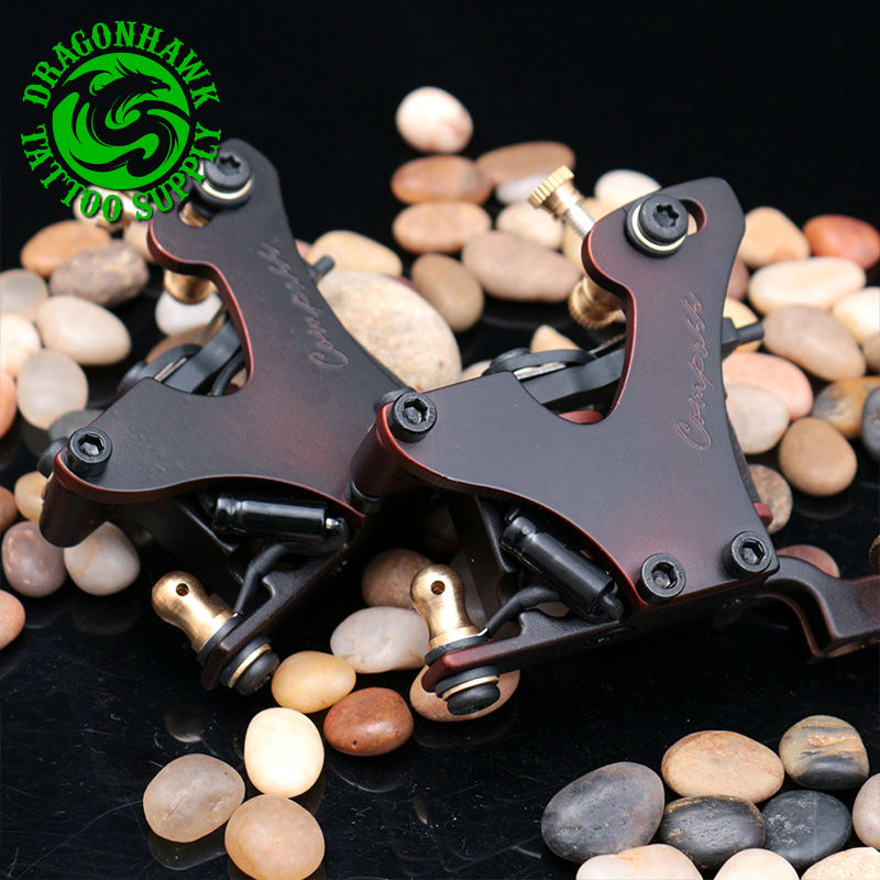 2pcs Professional Tattoo Guns Compass Tattoo Machine Liner And Shader Steel Frame Copper Coils Tattoo Gun