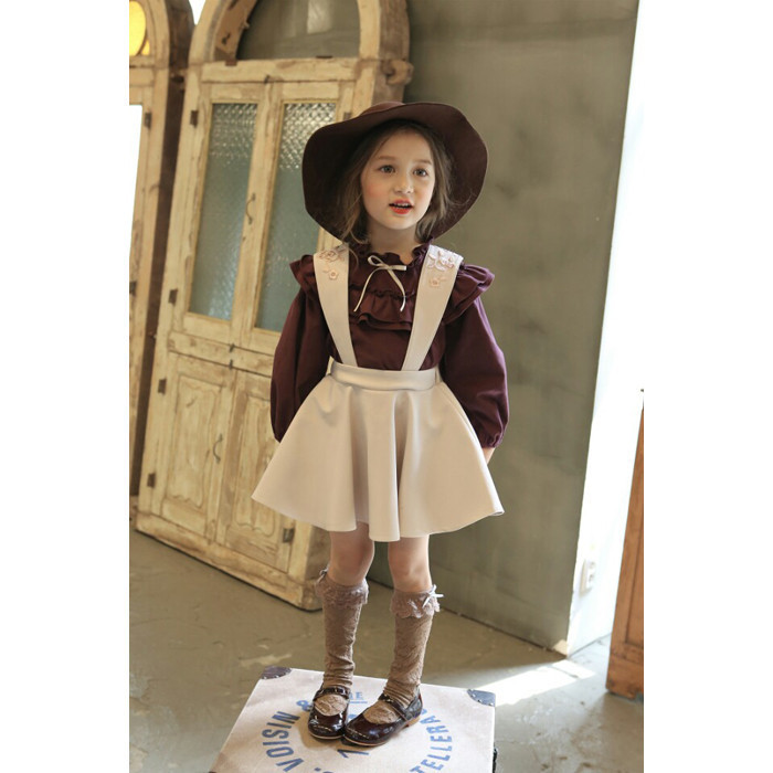 Korean Girls Suit Toddler Girl Long Sleeves Blouse + Embroidered Braces Skirt Children Bow Clothing Set Kids Ruffles Clothes bow collar long sleeves blouse