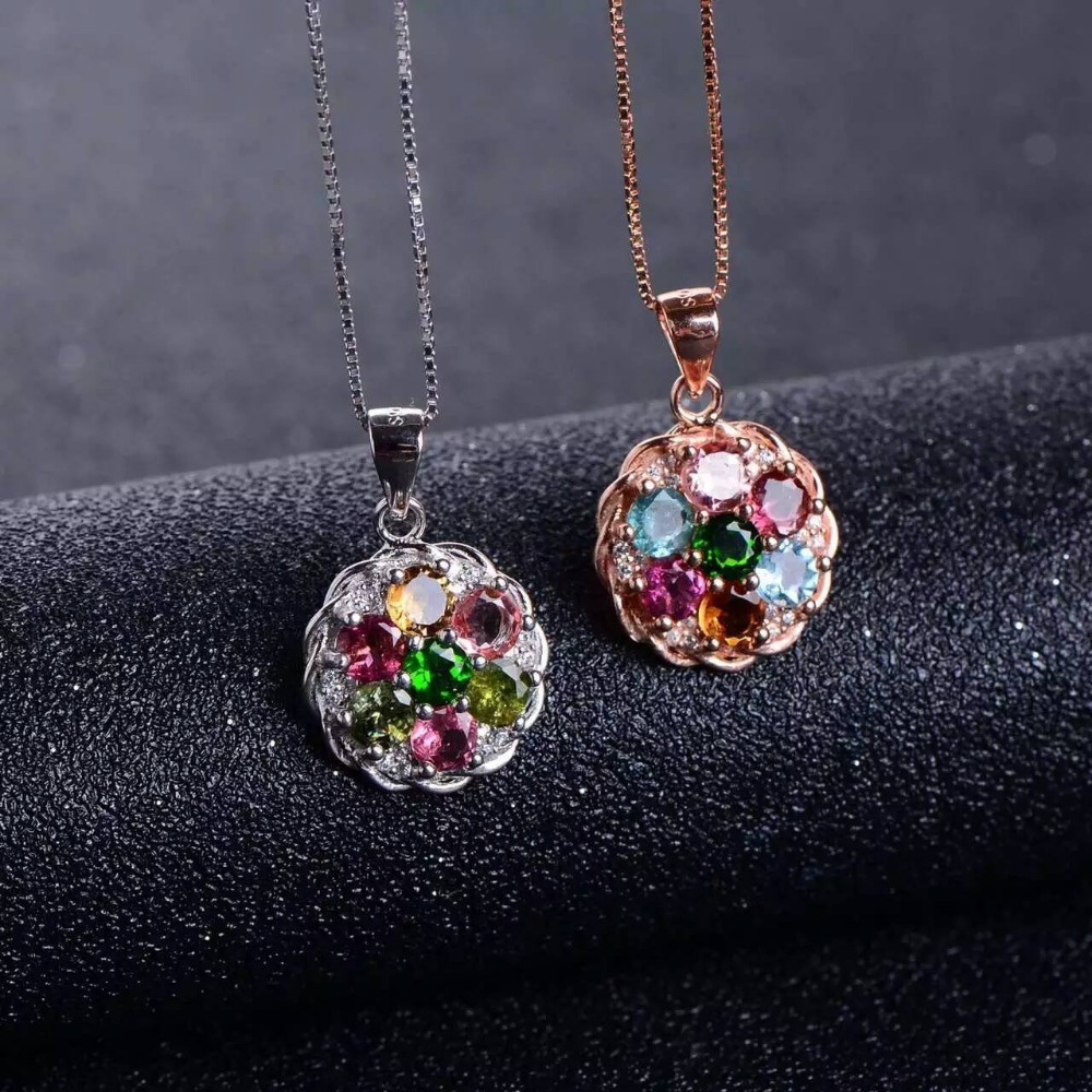 natural multicolor tourmaline pendant S925 silver Natural gemstone Pendant Necklace trendy round Hydrangea women party jewelrynatural multicolor tourmaline pendant S925 silver Natural gemstone Pendant Necklace trendy round Hydrangea women party jewelry