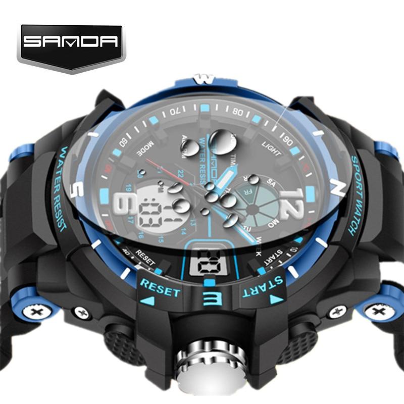 SANDA Fashion Watch Men G Style Waterproof LED Sports Military Watches Shock Men s Analog Quartz